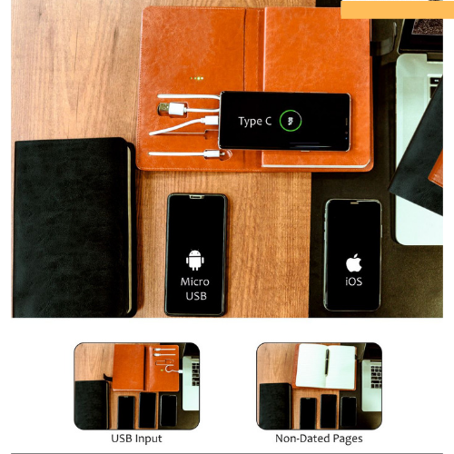 5000 MH power bank with a notebook